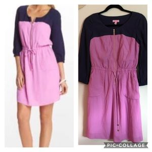 Lily Pulitzer Dress, Navy and Lilac Sessilee, Sz 0